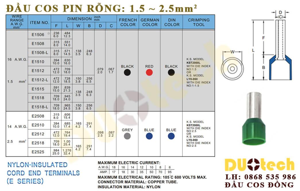 cosse pin rỗng nhựa 1.5mm e1508; đầu cosse pin tròn e1508; cos cho dây tín hiệu e1508; mua cos tín hiệu 1.5mm e1508; mua đầu cos pin rỗng 1.5mm