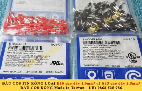 đầu cos pin rỗng e1008; đầu cos tín hiệu e1008; mua cos tín hiệu 1mm e1008; đầu cos pin rỗng 1mm
