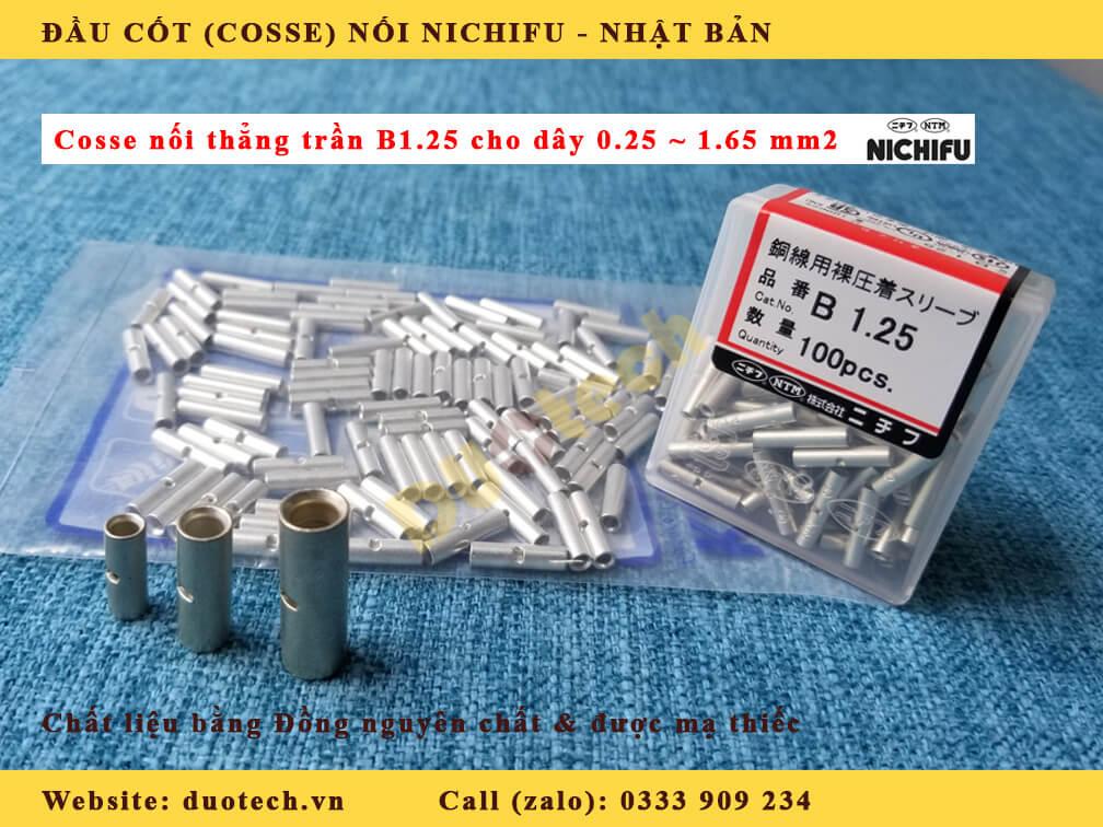 đầu cosse nối thẳng b1.25 nichifu; đầu cosse b 1.25 nichifu; đầu cốt nối b 1.25 nichifu; mua cosse nối dây điện; mua đầu cốt nối nichifu