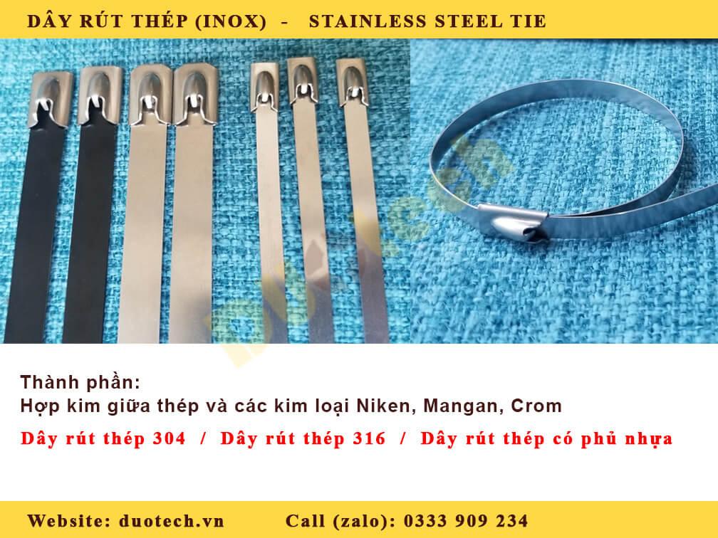 dây rút thép không gỉ; dây rút inox 316; dây rút inox 304; dây rút thép bọc nhựa; dây rút thép đầu pi
